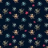 无缝的水下的样式用逗人喜爱的章鱼导航动画片例证 皇族释放例证