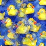 无缝的水彩黄色鸭子设计 向量例证