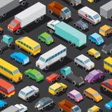 无缝的汽车停车处 上色模式可能的变形多种向量 图库摄影
