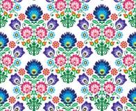 无缝的波兰语,斯拉夫的民间艺术花卉样式- wzory lowickie, wycinanka 免版税库存图片