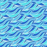 无缝的波浪手拉的样式,蓝色波向量背景 能为墙纸,样式积土,网页背景,海浪使用 免版税库存图片