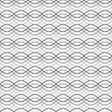 黑无缝的波浪抽象样式传染媒介例证 免版税图库摄影