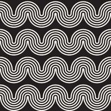 无缝的波浪线样式 重复传染媒介纹理 库存例证