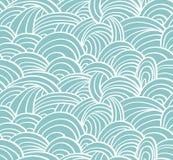 无缝的海手拉的样式,波浪背景 免版税库存照片