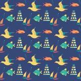 无缝的海样式 免版税图库摄影