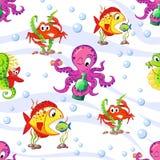 无缝的海洋样式用章鱼、海星、海象、螃蟹和鱼 库存图片