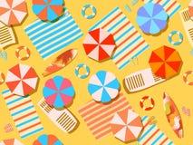 无缝的海滩,顶视图 有伞、冲浪板、啪嗒啪嗒的响声和床罩的轻便马车休息室 使假期靠岸 向量 库存例证
