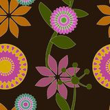 无缝的漩涡花卉墙纸传染媒介样式 库存图片