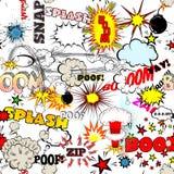 无缝的漫画书爆炸、炸弹和疾风集合 讲话的,另外声音传染媒介泡影 库存例证