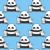 无缝的熊猫爱猫样式 向量例证