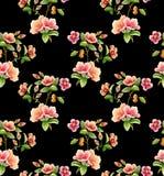 无缝的独特的花有黑背景 库存例证