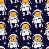 无缝的猫宇航员样式 图库摄影