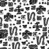 无缝的玛雅人样式 黑白种族元素 向量例证