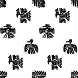 无缝的玛雅人样式 黑白种族元素 库存例证
