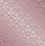 无缝的玫瑰色金小花卉元素墙纸 向量例证