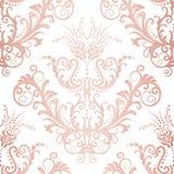 无缝的玫瑰色金花卉葡萄酒墙纸 库存例证