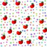无缝的瓦片用红色果子苹果和柔和的淡色彩上色了小点 库存照片