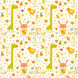 无缝的生日快乐婴孩背景 免版税库存照片