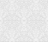 无缝的白色3D样式,阿拉伯主题,东部装饰品 皇族释放例证