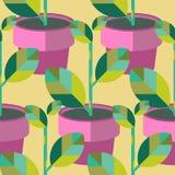 无缝的盆的植物样式 库存例证