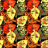 无缝的秋叶样式,在拼贴画的时髦印刷品删去了, 库存图片