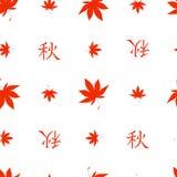 无缝的秋天日语留下样式 图库摄影
