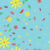 无缝的秋天花和叶子背景 库存图片
