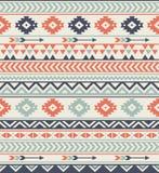 无缝的种族样式纹理 抽象那瓦伙族人几何印刷品 灰色和橙色颜色 免版税图库摄影