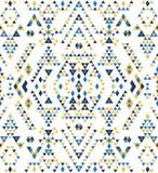 无缝的种族样式纹理 抽象那瓦伙族人几何印刷品 黄色和蓝色颜色 免版税库存照片