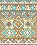 无缝的种族样式纹理 抽象那瓦伙族人几何印刷品 黄色和蓝色颜色 图库摄影