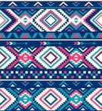 无缝的种族样式纹理 美国本地人样式 桃红色和蓝色颜色 向量例证