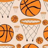 无缝的篮球篮子和球 库存照片