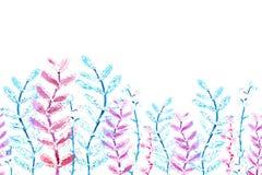无缝的精美小桃红色样式、边界和绿色花和枝杈 设计的水彩图画  库存例证