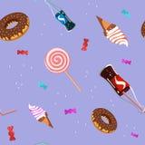 无缝的糖果甜点样式 免版税库存图片