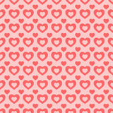 无缝的红色和桃红色心脏背景 库存图片