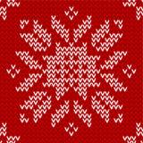 无缝的红色和白色被编织的背景 库存照片