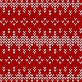 无缝的红色和白色被编织的背景 免版税库存图片