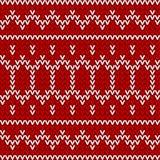 无缝的红色和白色被编织的背景 图库摄影