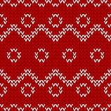 无缝的红色和白色被编织的背景 免版税图库摄影