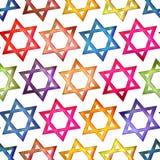 无缝的纹理五颜六色的犹太星 免版税图库摄影