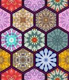 无缝的纹理向量 设计和时尚的美好的兆补缀品马赛克样式与在六角形的装饰元素塑造 库存照片