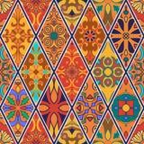 无缝的纹理向量 设计的美好的补缀品与装饰元素的样式和时尚在菱形 库存图片