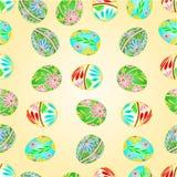 无缝的纹理复活节彩蛋花卉样式传染媒介例证 免版税图库摄影