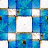 无缝的纹理生锈的白色和蓝色正方形 免版税库存照片