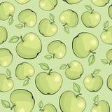 无缝的纹理用绿色苹果 免版税库存图片