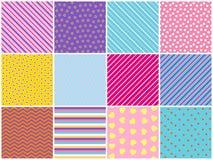 无缝的纹理的汇集 简单的元素 明亮的背景 免版税库存图片