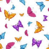 无缝的纹理 五颜六色的蝴蝶 免版税库存图片