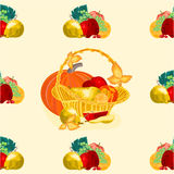 无缝的纹理水果篮传染媒介 库存照片