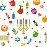 无缝的纹理-样式为犹太假日光明节 向量例证