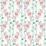 无缝的纺织品设计的,纸墙纸,礼品包装材料,妇女的衣物的织品春天花卉样式 皇族释放例证